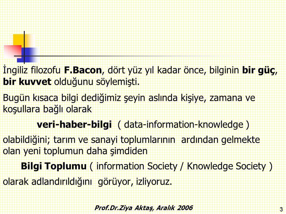 4 Bilginin Yayılma Oranı Yıl 18001900 2000 Prof.Dr.Ziya Aktaş, Aralık 2006