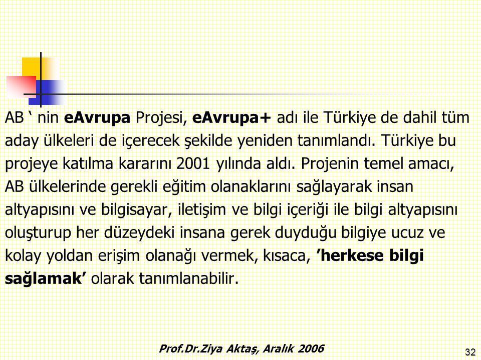 32 AB ' nin eAvrupa Projesi, eAvrupa+ adı ile Türkiye de dahil tüm aday ülkeleri de içerecek şekilde yeniden tanımlandı. Türkiye bu projeye katılma ka