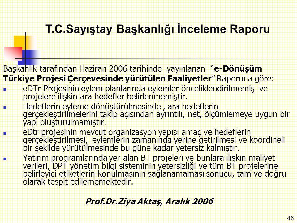 """46 Başkanlık tarafından Haziran 2006 tarihinde yayınlanan """"e-Dönüşüm Türkiye Projesi Çerçevesinde yürütülen Faaliyetler"""" Raporuna göre: eDTr Projesini"""