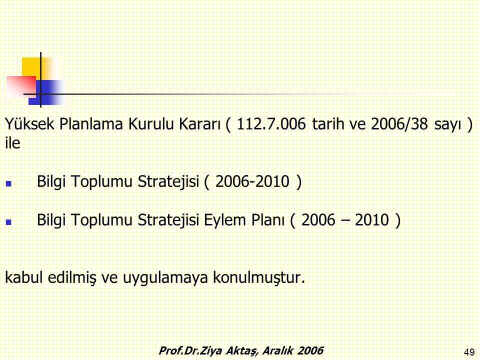 49 Yüksek Planlama Kurulu Kararı ( 112.7.006 tarih ve 2006/38 sayı ) ile Bilgi Toplumu Stratejisi ( 2006-2010 ) Bilgi Toplumu Stratejisi Eylem Planı (