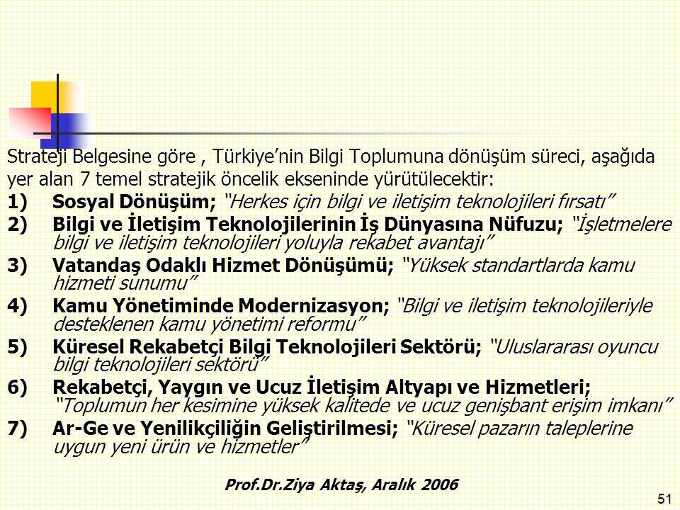 51 Strateji Belgesine göre, Türkiye'nin Bilgi Toplumuna dönüşüm süreci, aşağıda yer alan 7 temel stratejik öncelik ekseninde yürütülecektir: 1)Sosyal