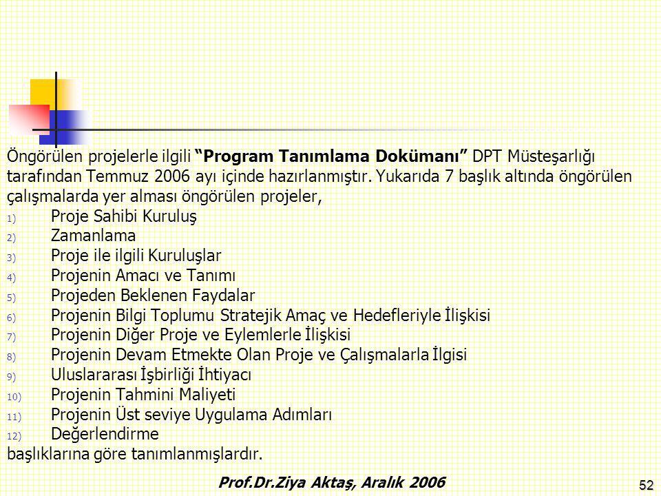 """52 Öngörülen projelerle ilgili """"Program Tanımlama Dokümanı"""" DPT Müsteşarlığı tarafından Temmuz 2006 ayı içinde hazırlanmıştır. Yukarıda 7 başlık altın"""