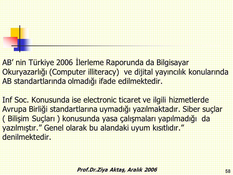 58 AB' nin Türkiye 2006 İlerleme Raporunda da Bilgisayar Okuryazarlığı (Computer illiteracy) ve dijital yayıncılık konularında AB standartlarında olma