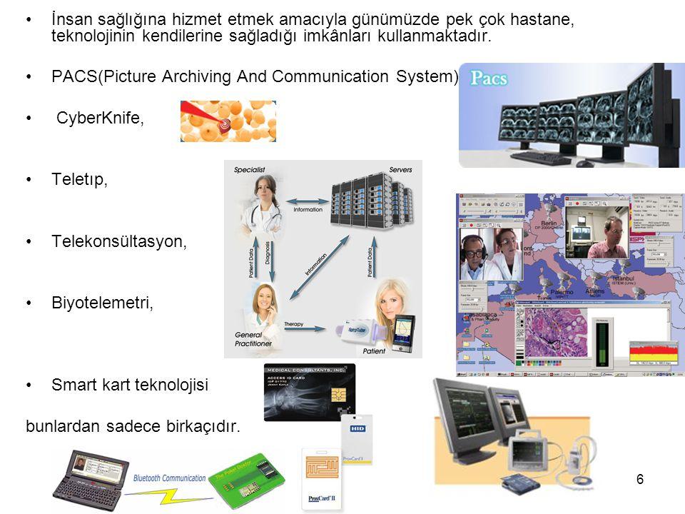 6 İnsan sağlığına hizmet etmek amacıyla günümüzde pek çok hastane, teknolojinin kendilerine sağladığı imkânları kullanmaktadır. PACS(Picture Archiving