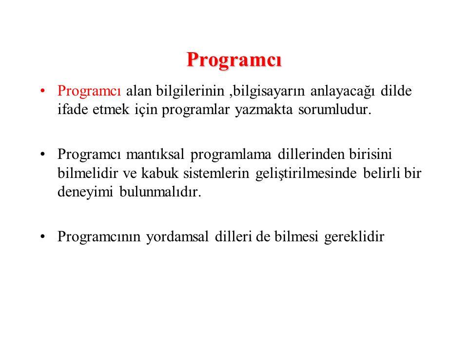Programcı Programcı alan bilgilerinin,bilgisayarın anlayacağı dilde ifade etmek için programlar yazmakta sorumludur. Programcı mantıksal programlama d