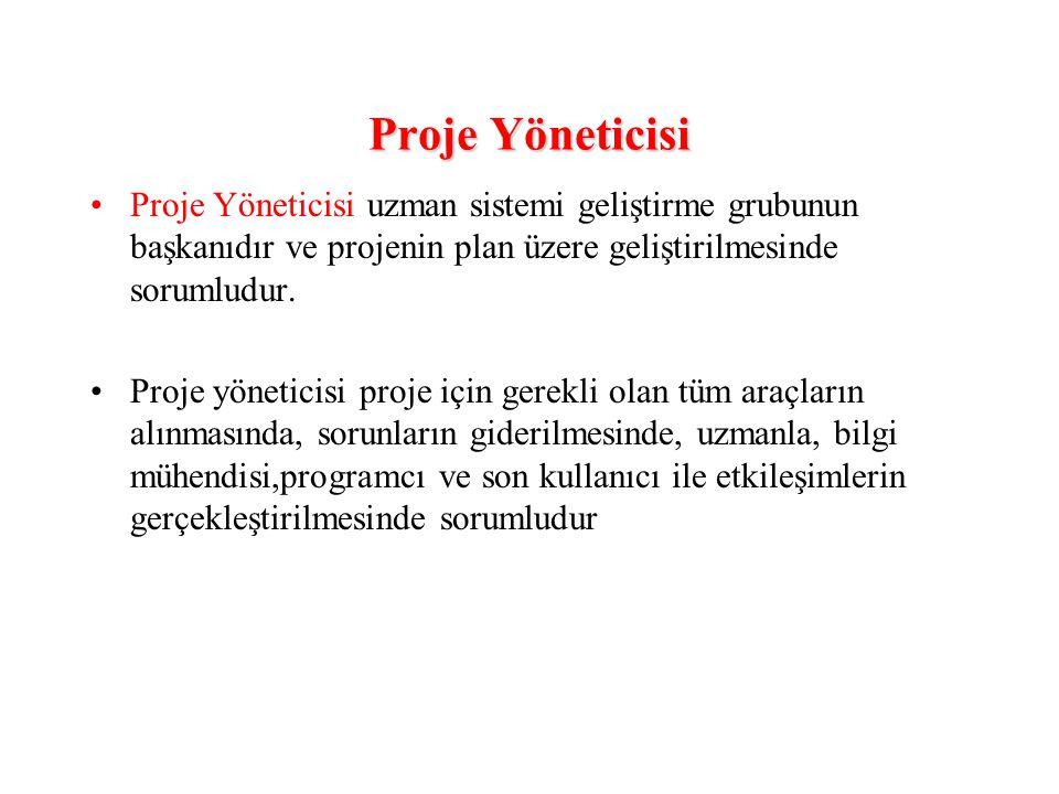Proje Yöneticisi Proje Yöneticisi uzman sistemi geliştirme grubunun başkanıdır ve projenin plan üzere geliştirilmesinde sorumludur. Proje yöneticisi p