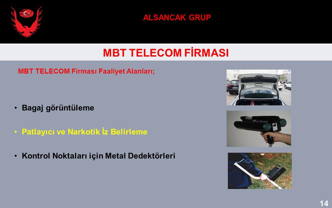MBT TELECOM FİRMASI Bagaj görüntüleme Patlayıcı ve Narkotik İz Belirleme Kontrol Noktaları için Metal Dedektörleri MBT TELECOM Firması Faaliyet Alanla
