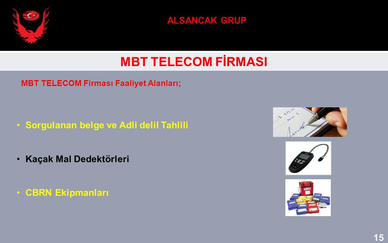 MBT TELECOM FİRMASI Sorgulanan belge ve Adli delil Tahlili Kaçak Mal Dedektörleri CBRN Ekipmanları MBT TELECOM Firması Faaliyet Alanları; 15
