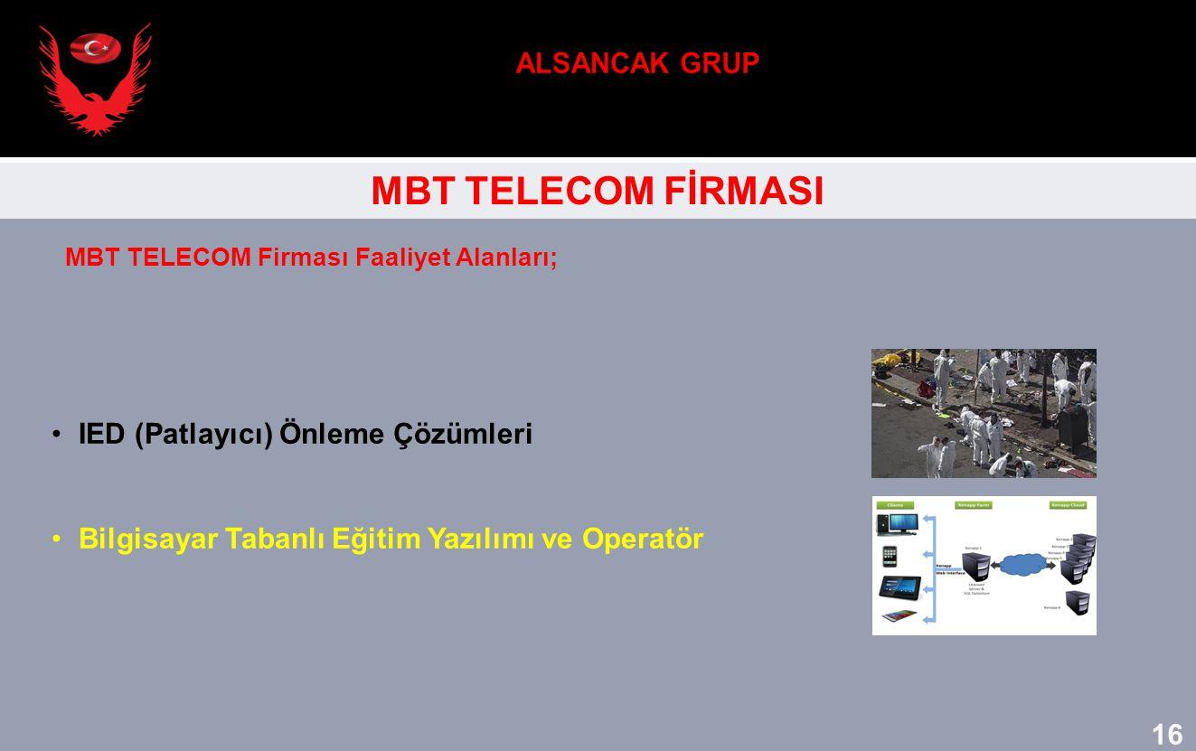 MBT TELECOM FİRMASI IED (Patlayıcı) Önleme Çözümleri Bilgisayar Tabanlı Eğitim Yazılımı ve Operatör MBT TELECOM Firması Faaliyet Alanları; 16