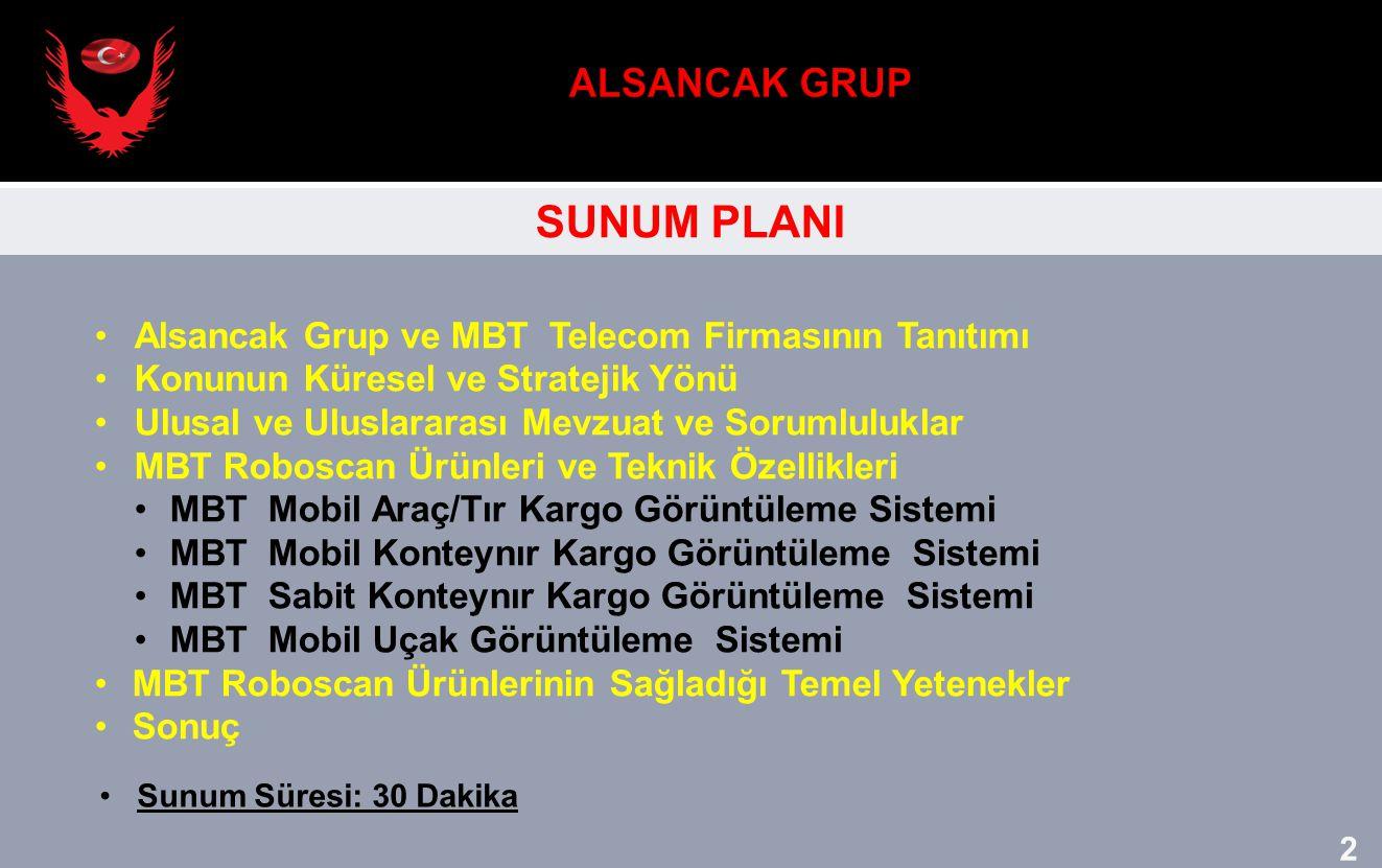 SUNUM PLANI Alsancak Grup ve MBT Telecom Firmasının Tanıtımı Konunun Küresel ve Stratejik Yönü Ulusal ve Uluslararası Mevzuat ve Sorumluluklar MBT Rob