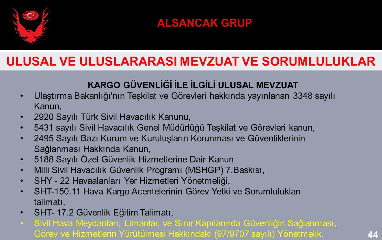 KARGO GÜVENLİĞİ İLE İLGİLİ ULUSAL MEVZUAT Ulaştırma Bakanlığı'nın Teşkilat ve Görevleri hakkında yayınlanan 3348 sayılı Kanun, 2920 Sayılı Türk Sivil