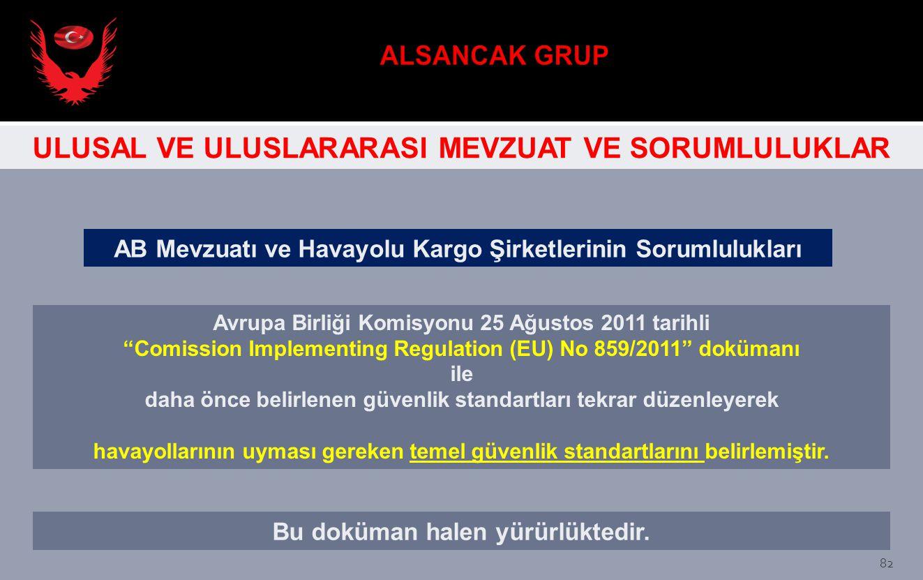 """AB Mevzuatı ve Havayolu Kargo Şirketlerinin Sorumlulukları Avrupa Birliği Komisyonu 25 Ağustos 2011 tarihli """"Comission Implementing Regulation (EU) No"""