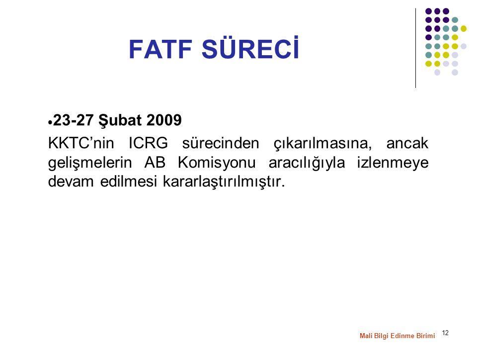 12  23-27 Şubat 2009 KKTC'nin ICRG sürecinden çıkarılmasına, ancak gelişmelerin AB Komisyonu aracılığıyla izlenmeye devam edilmesi kararlaştırılmıştır.