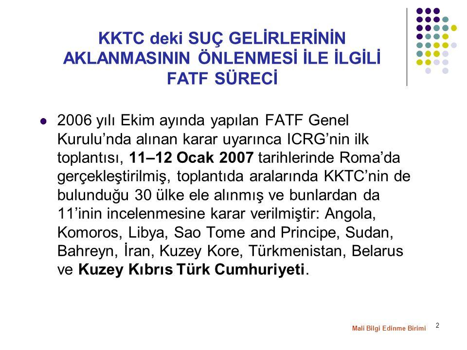 2 KKTC deki SUÇ GELİRLERİNİN AKLANMASININ ÖNLENMESİ İLE İLGİLİ FATF SÜRECİ 2006 yılı Ekim ayında yapılan FATF Genel Kurulu'nda alınan karar uyarınca ICRG'nin ilk toplantısı, 11–12 Ocak 2007 tarihlerinde Roma'da gerçekleştirilmiş, toplantıda aralarında KKTC'nin de bulunduğu 30 ülke ele alınmış ve bunlardan da 11'inin incelenmesine karar verilmiştir: Angola, Komoros, Libya, Sao Tome and Principe, Sudan, Bahreyn, İran, Kuzey Kore, Türkmenistan, Belarus ve Kuzey Kıbrıs Türk Cumhuriyeti.