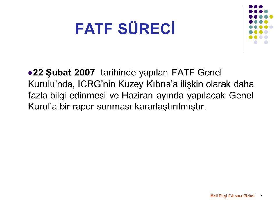 4 25–29 Haziran 2007 FATF Genel Kurulu'nda, KKTC AML/CFTsistemine ilişkin olarak ICRG'nin hazırlamış olduğu Rapor görüşüldü -AB Komisyonu'nun arabulucu sıfatıyla KKTC'nin detaylı bir Eylem Planı hazırlamasına katkıda bulunmasına karar verilmiştir.