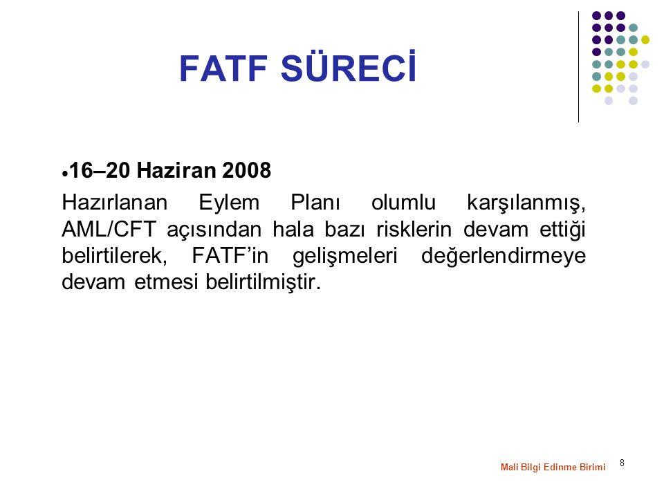 8  16–20 Haziran 2008 Hazırlanan Eylem Planı olumlu karşılanmış, AML/CFT açısından hala bazı risklerin devam ettiği belirtilerek, FATF'in gelişmeleri