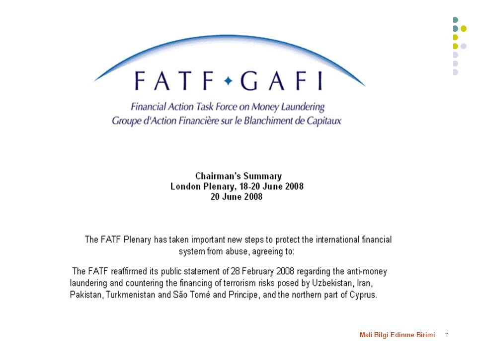 10 13-17 Ekim 2008 KKTC'nin FATF tarafından tespit edilen eksiklikleri büyük oranda giderdiği ve AML/CFT açısından önemli bir ilerleme kaydettiği, uygulamaların uygun bir vasıta ile FATF tarafından takip edilmesine karar verilmiştir.