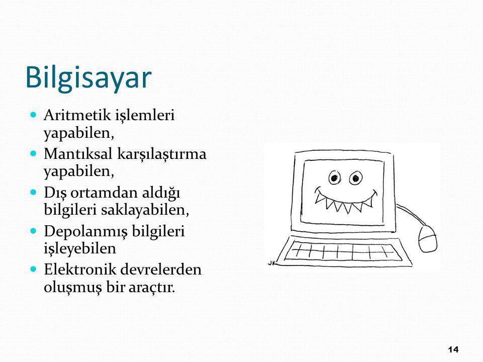 Bilgisayar Aritmetik işlemleri yapabilen, Mantıksal karşılaştırma yapabilen, Dış ortamdan aldığı bilgileri saklayabilen, Depolanmış bilgileri işleyebilen Elektronik devrelerden oluşmuş bir araçtır.