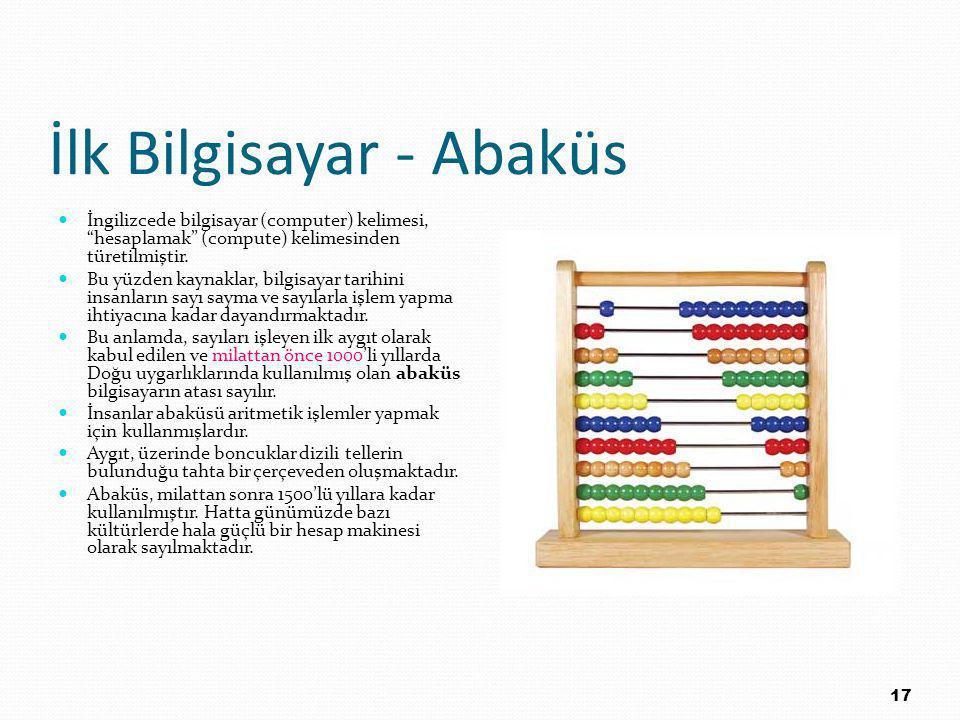 İlk Bilgisayar - Abaküs İngilizcede bilgisayar (computer) kelimesi, hesaplamak (compute) kelimesinden türetilmiştir.