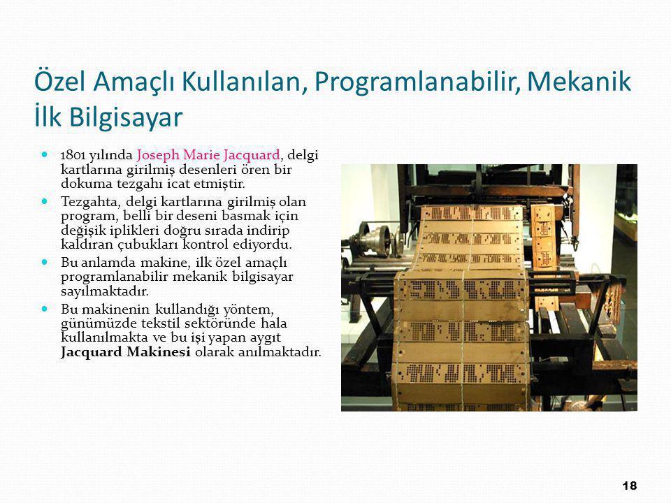 Özel Amaçlı Kullanılan, Programlanabilir, Mekanik İlk Bilgisayar 1801 yılında Joseph Marie Jacquard, delgi kartlarına girilmiş desenleri ören bir dokuma tezgahı icat etmiştir.