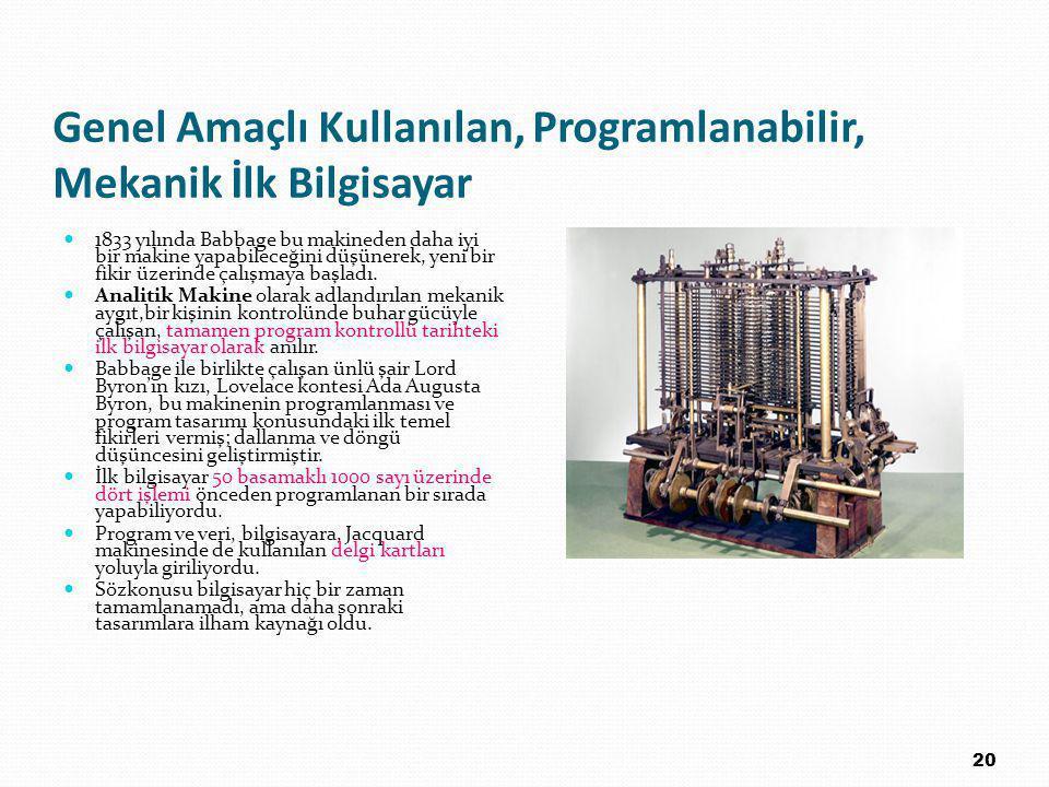 Genel Amaçlı Kullanılan, Programlanabilir, Mekanik İlk Bilgisayar 1833 yılında Babbage bu makineden daha iyi bir makine yapabileceğini düşünerek, yeni bir fikir üzerinde çalışmaya başladı.