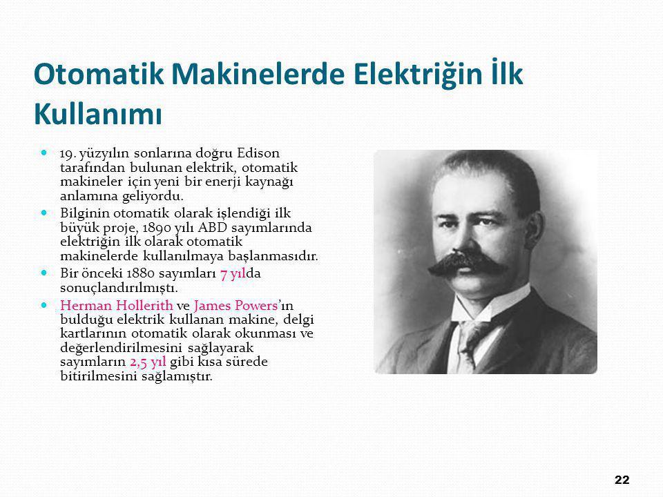 Otomatik Makinelerde Elektriğin İlk Kullanımı 19.