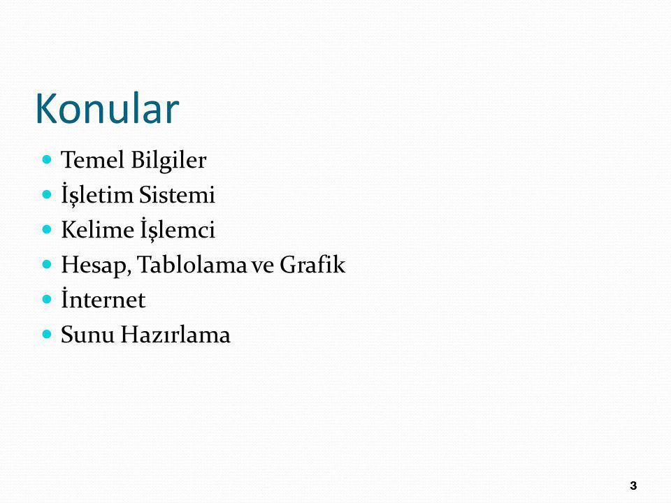 Konular Temel Bilgiler İşletim Sistemi Kelime İşlemci Hesap, Tablolama ve Grafik İnternet Sunu Hazırlama 3