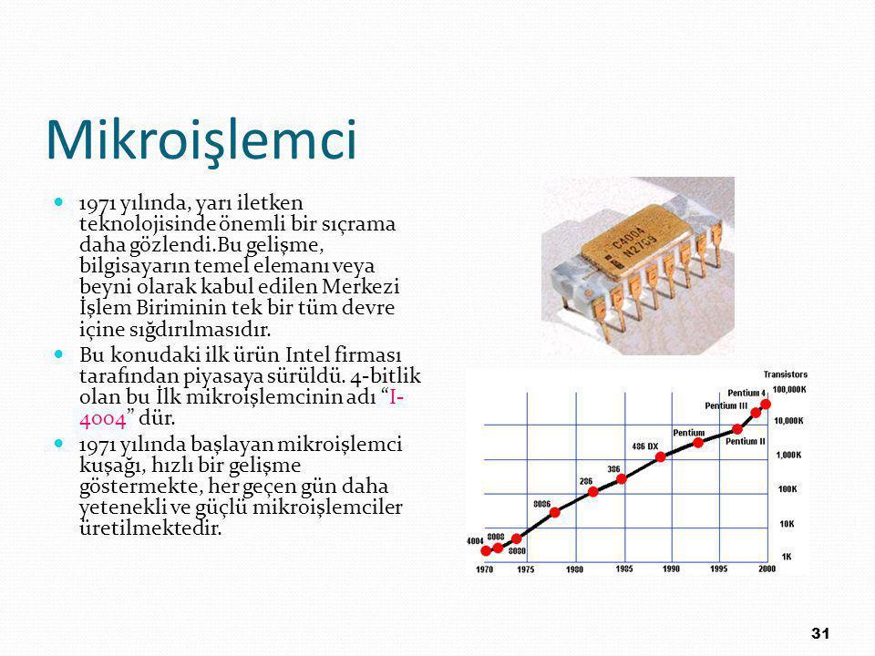 Mikroişlemci 1971 yılında, yarı iletken teknolojisinde önemli bir sıçrama daha gözlendi.Bu gelişme, bilgisayarın temel elemanı veya beyni olarak kabul edilen Merkezi İşlem Biriminin tek bir tüm devre içine sığdırılmasıdır.