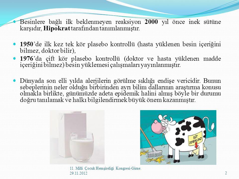 Besinlere bağlı ilk beklenmeyen reaksiyon 2000 yıl önce inek sütüne karşıdır, Hipokrat tarafından tanımlanmıştır. 1950'de ilk kez tek kör plasebo kont