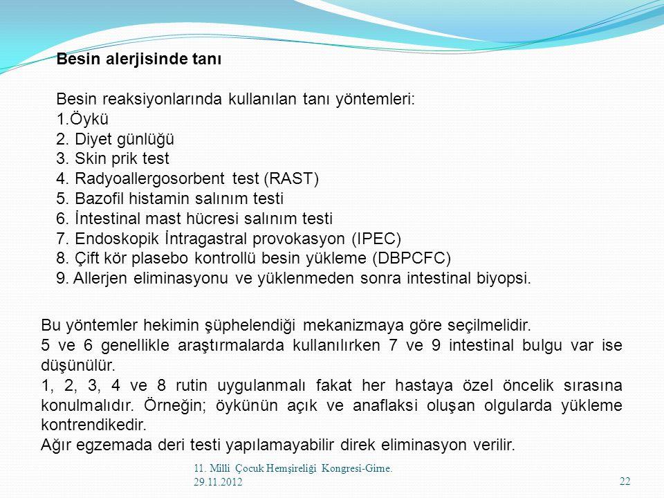 Besin alerjisinde tanı Besin reaksiyonlarında kullanılan tanı yöntemleri: 1.Öykü 2. Diyet günlüğü 3. Skin prik test 4. Radyoallergosorbent test (RAST)