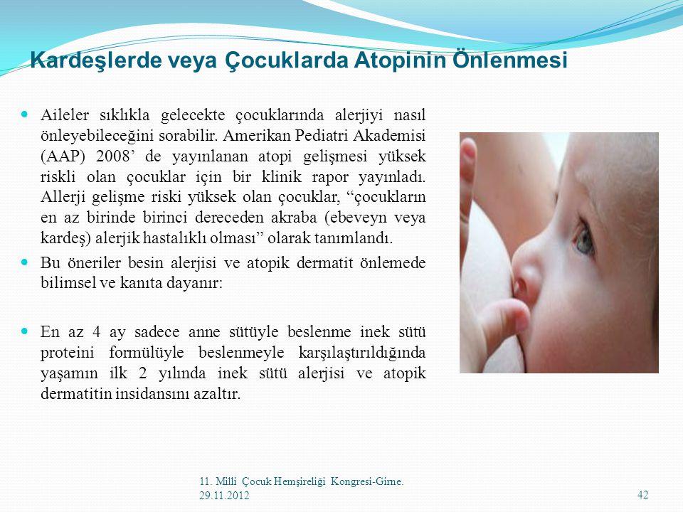 Kardeşlerde veya Çocuklarda Atopinin Önlenmesi Aileler sıklıkla gelecekte çocuklarında alerjiyi nasıl önleyebileceğini sorabilir. Amerikan Pediatri Ak