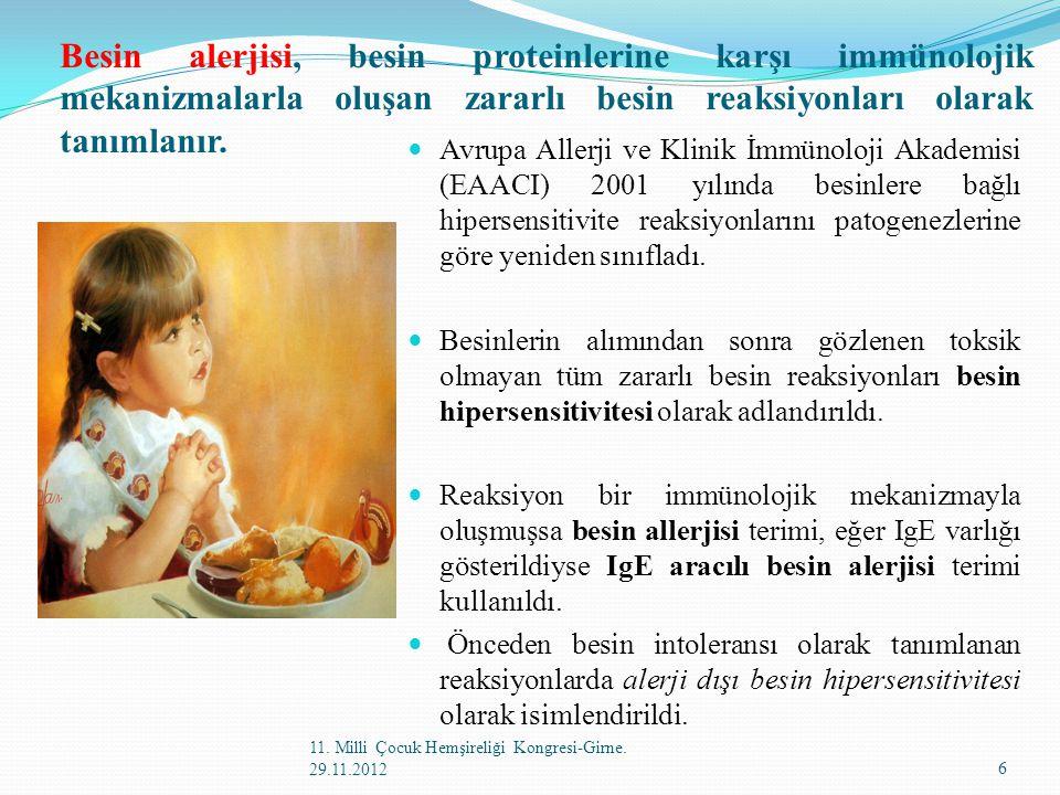 Besin alerjisi, besin proteinlerine karşı immünolojik mekanizmalarla oluşan zararlı besin reaksiyonları olarak tanımlanır. Avrupa Allerji ve Klinik İm