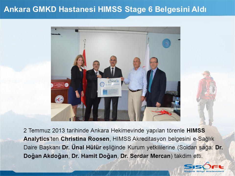 2 Temmuz 2013 tarihinde Ankara Hekimevinde yapılan törenle HIMSS Analytics'ten Christina Roosen, HIMSS Akreditasyon belgesini e-Sağlık Daire Başkanı Dr.