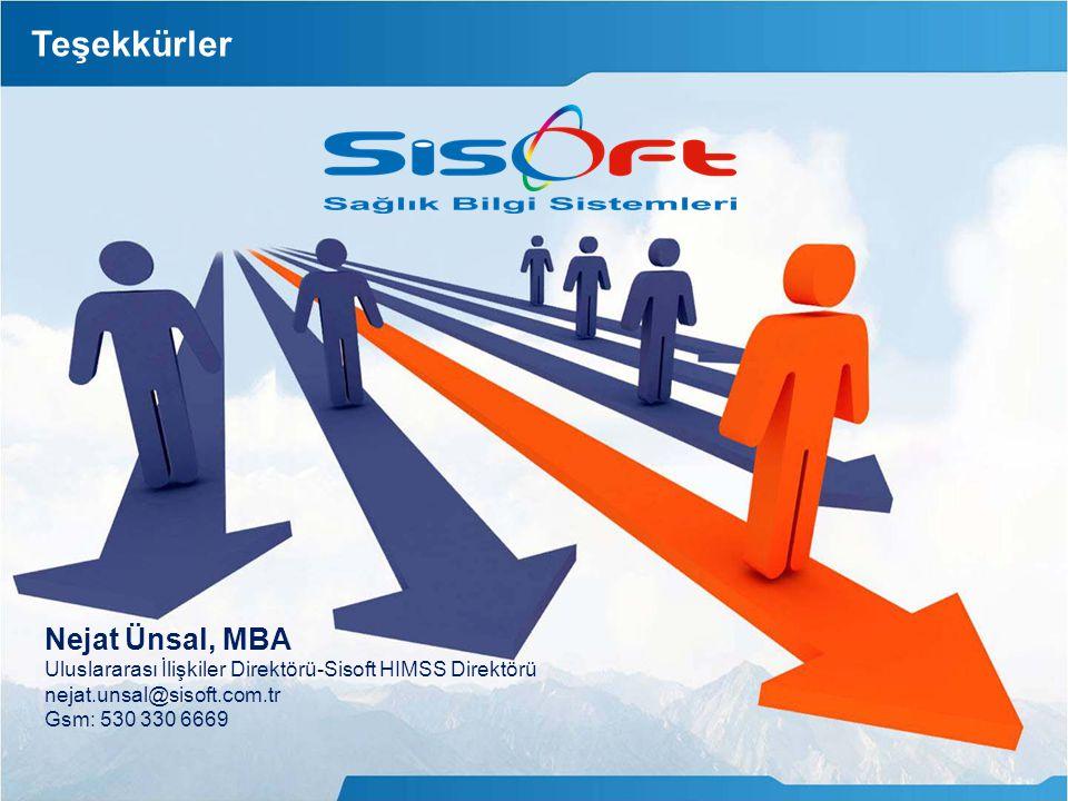 Teşekkürler Nejat Ünsal, MBA Uluslararası İlişkiler Direktörü-Sisoft HIMSS Direktörü nejat.unsal@sisoft.com.tr Gsm: 530 330 6669