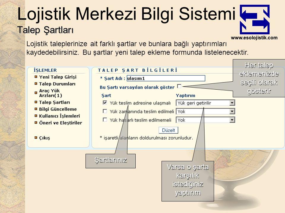 www.esolojistik.com Talep Şartları Lojistik Merkezi Bilgi Sistemi Talep Şartları Lojistik taleplerinize ait farklı şartlar ve bunlara bağlı yaptırımları kaydedebilirsiniz.