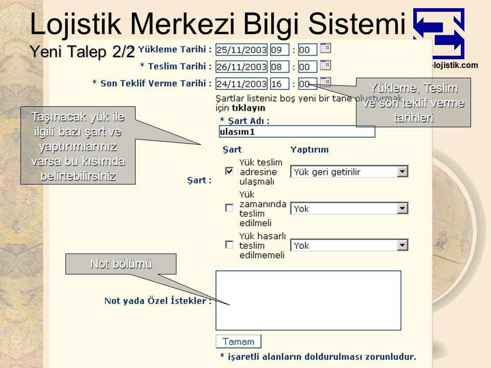 www.esolojistik.com Yeni Talep 2/2 Lojistik Merkezi Bilgi Sistemi Yeni Talep 2/2 Yükleme, Teslim ve son teklif verme tarihleri Taşınacak yük ile ilgili bazı şart ve yaptırımlarınız varsa bu kısımda belirtebilirsiniz Not bölümü