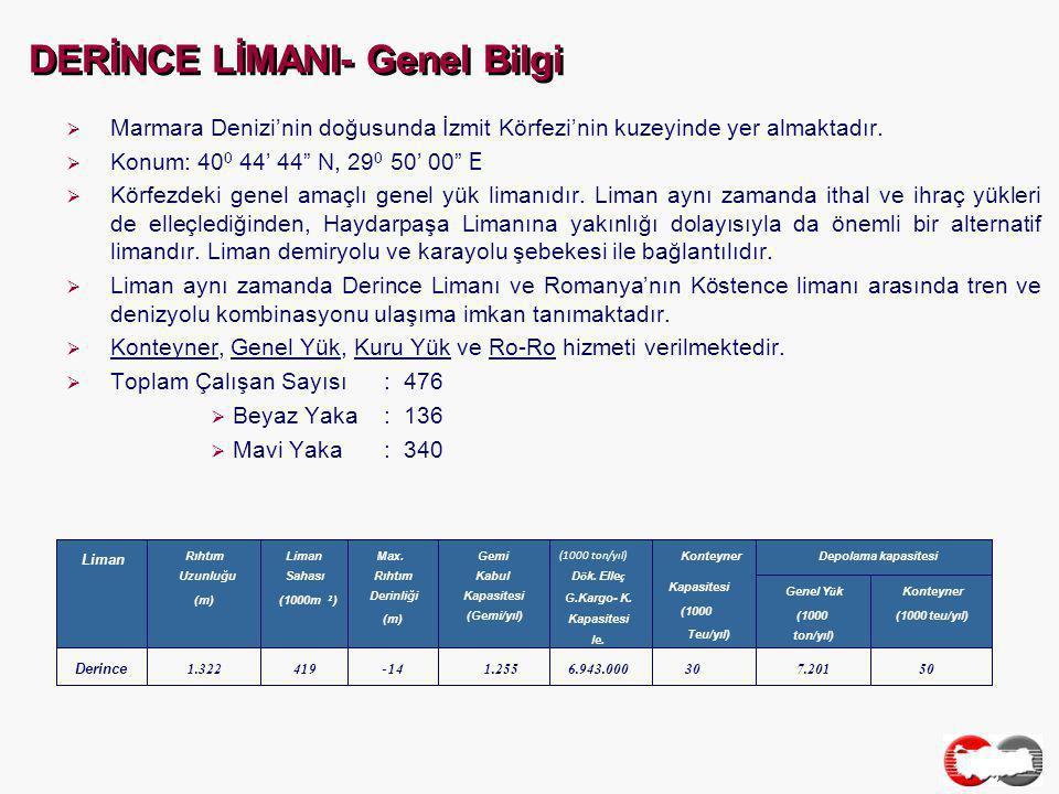 DERİNCE LİMANI- Genel Bilgi  Marmara Denizi'nin doğusunda İzmit Körfezi'nin kuzeyinde yer almaktadır.
