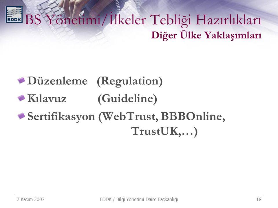 7 Kasım 2007 BDDK / Bilgi Yönetimi Daire Başkanlığı 18 BS Yönetimi/İlkeler Tebliği Hazırlıkları Diğer Ülke Yaklaşımları Düzenleme (Regulation) Kılavuz