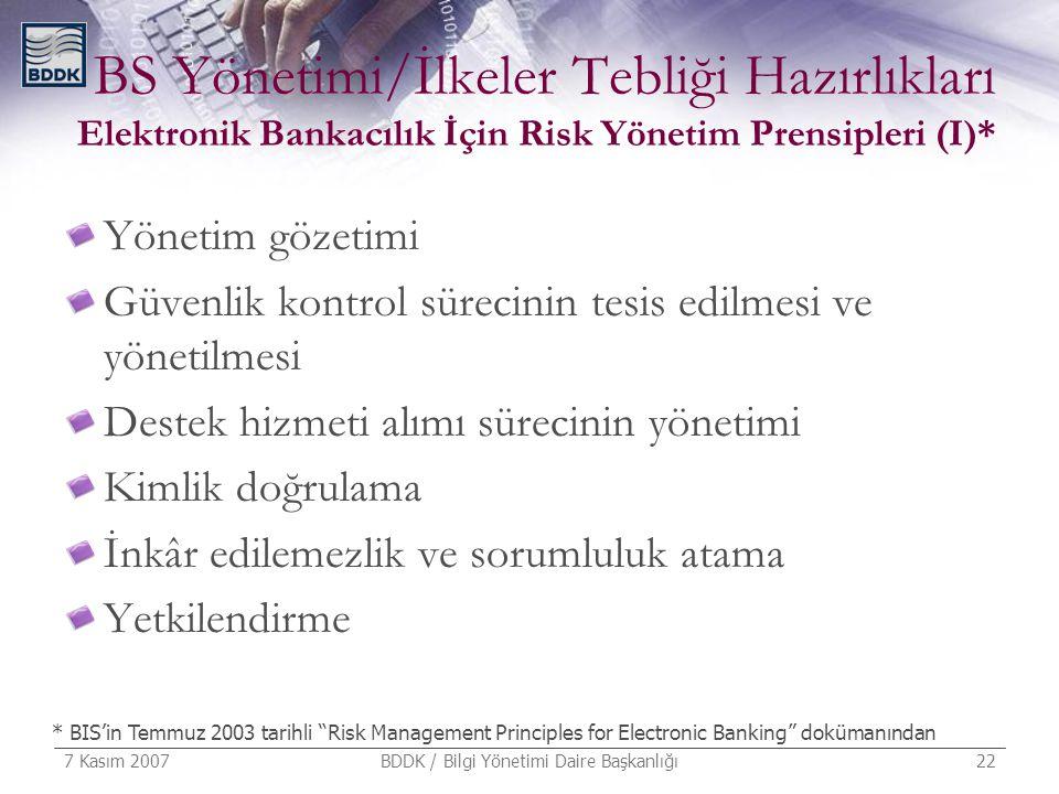 7 Kasım 2007 BDDK / Bilgi Yönetimi Daire Başkanlığı 22 BS Yönetimi/İlkeler Tebliği Hazırlıkları Elektronik Bankacılık İçin Risk Yönetim Prensipleri (I