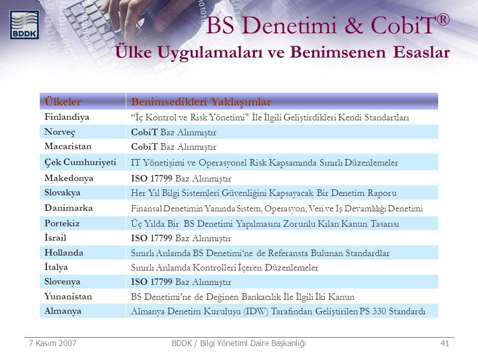 7 Kasım 2007 BDDK / Bilgi Yönetimi Daire Başkanlığı 41 BS Denetimi & CobiT ® Ülke Uygulamaları ve Benimsenen Esaslar ÜlkelerBenimsedikleri Yaklaşımlar