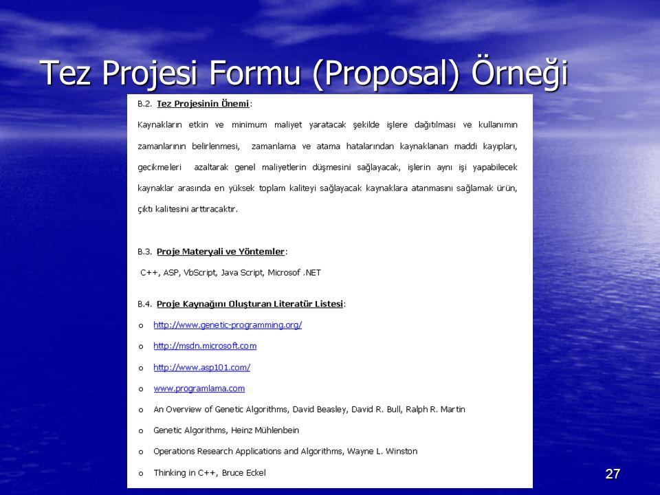 27 Tez Projesi Formu (Proposal) Örneği