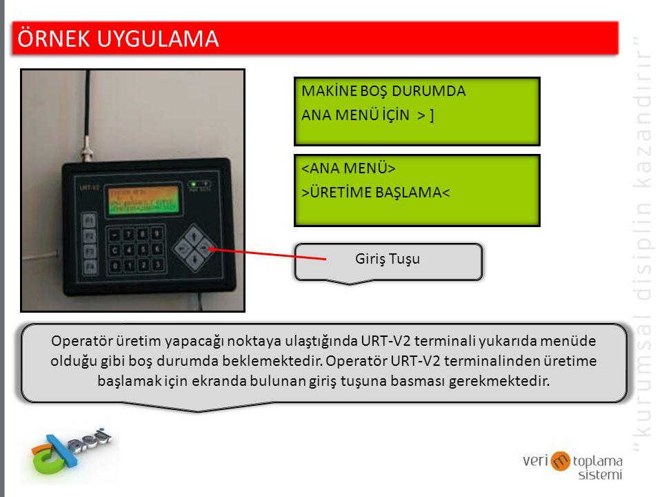 ÖRNEK UYGULAMA Operatör üretim yapacağı noktaya ulaştığında URT-V2 terminali yukarıda menüde olduğu gibi boş durumda beklemektedir.