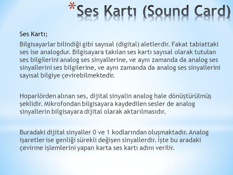 Ses Kartı; Bilgisayarlar bilindiği gibi sayısal (digital) aletlerdir. Fakat tabiattaki ses ise analogdur. Bilgisayara takılan ses kartı sayısal olarak