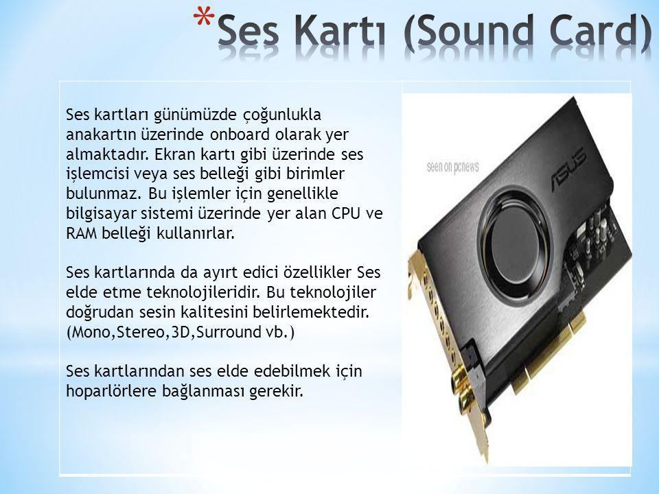 Ses kartları günümüzde çoğunlukla anakartın üzerinde onboard olarak yer almaktadır. Ekran kartı gibi üzerinde ses işlemcisi veya ses belleği gibi biri