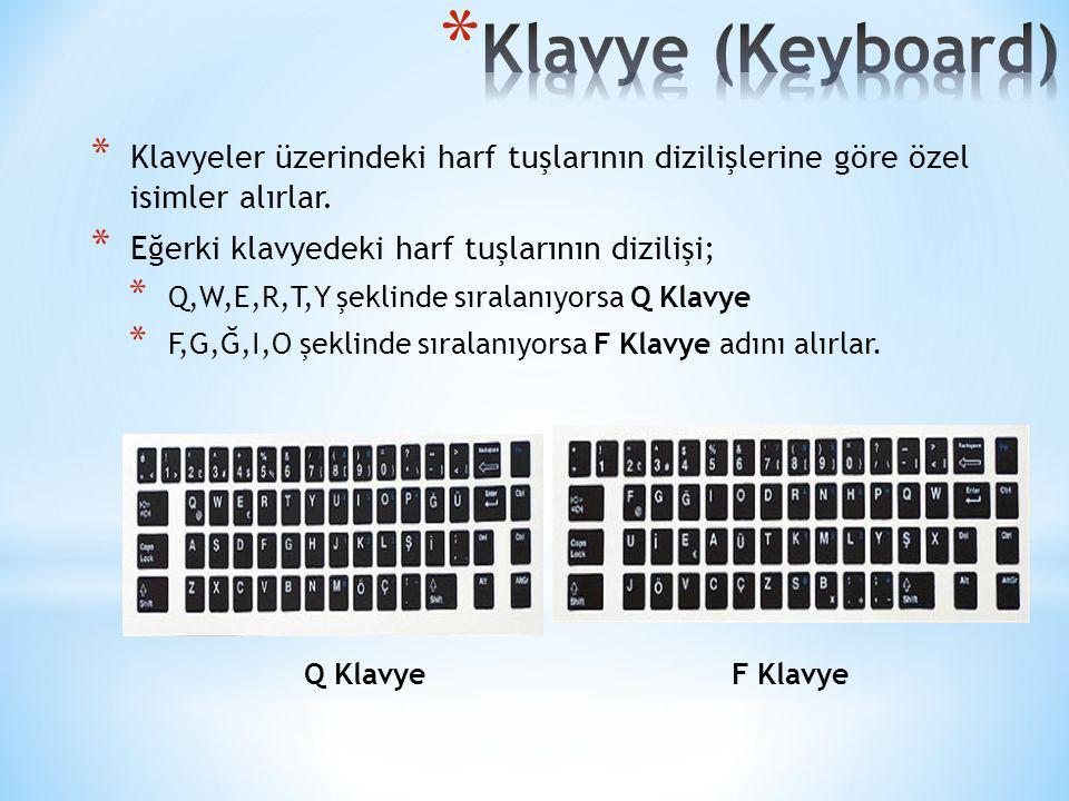 * Klavyeler üzerindeki harf tuşlarının dizilişlerine göre özel isimler alırlar. * Eğerki klavyedeki harf tuşlarının dizilişi; * Q,W,E,R,T,Y şeklinde s