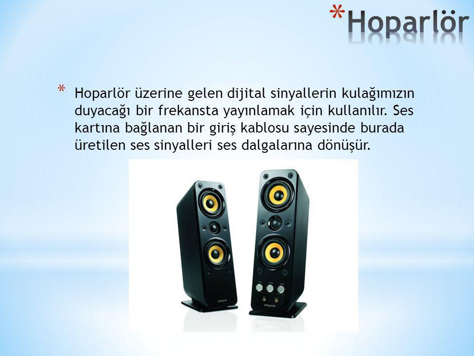 * Hoparlör üzerine gelen dijital sinyallerin kulağımızın duyacağı bir frekansta yayınlamak için kullanılır. Ses kartına bağlanan bir giriş kablosu say
