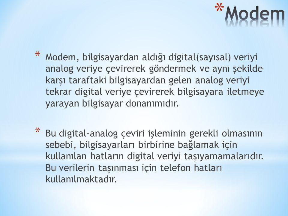 * Modem, bilgisayardan aldığı digital(sayısal) veriyi analog veriye çevirerek göndermek ve aynı şekilde karşı taraftaki bilgisayardan gelen analog ver