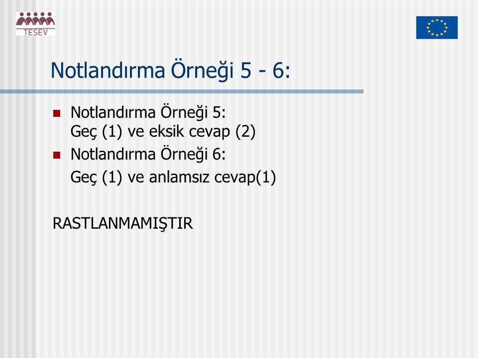 Notlandırma Örneği 5 - 6: Notlandırma Örneği 5: Geç (1) ve eksik cevap (2) Notlandırma Örneği 6: Geç (1) ve anlamsız cevap(1) RASTLANMAMIŞTIR