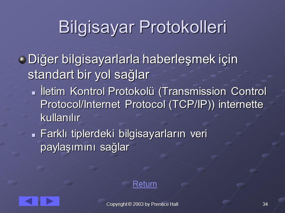 34Copyright © 2003 by Prentice Hall Bilgisayar Protokolleri Diğer bilgisayarlarla haberleşmek için standart bir yol sağlar İletim Kontrol Protokolü (T