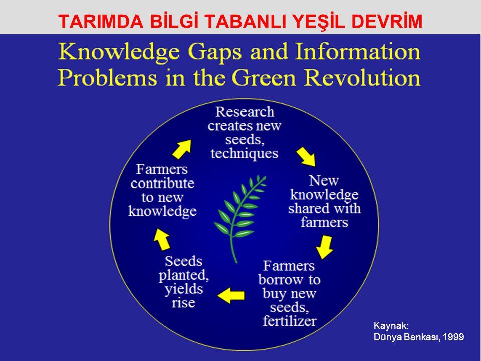 TARIMDA BİLGİ TABANLI YEŞİL DEVRİM Kaynak: Dünya Bankası, 1999